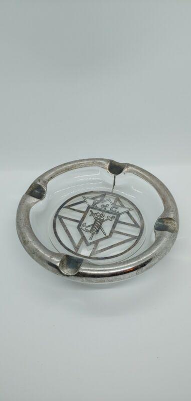 Knights of Columbus Glass Ashtray w/ Silver Emblem & Chrome Rim - Vintage