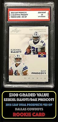 ($300) 2016 EZEKIEL ELLIOTT/DAK PRESCOTT LEAF 1ST GRADED 10 ROOKIE CARD COWBOYS