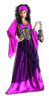 Gypsy/Wench Costume 4 Piece Deluxe Purple Dress Vest Headpiece & Purse  (Purple Gypsy Costume)