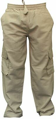 Hippie Hemp (Mens Plain Hemp Hippie Cargo Pockets Hippie Combat Pants Festival Boho Trousers )