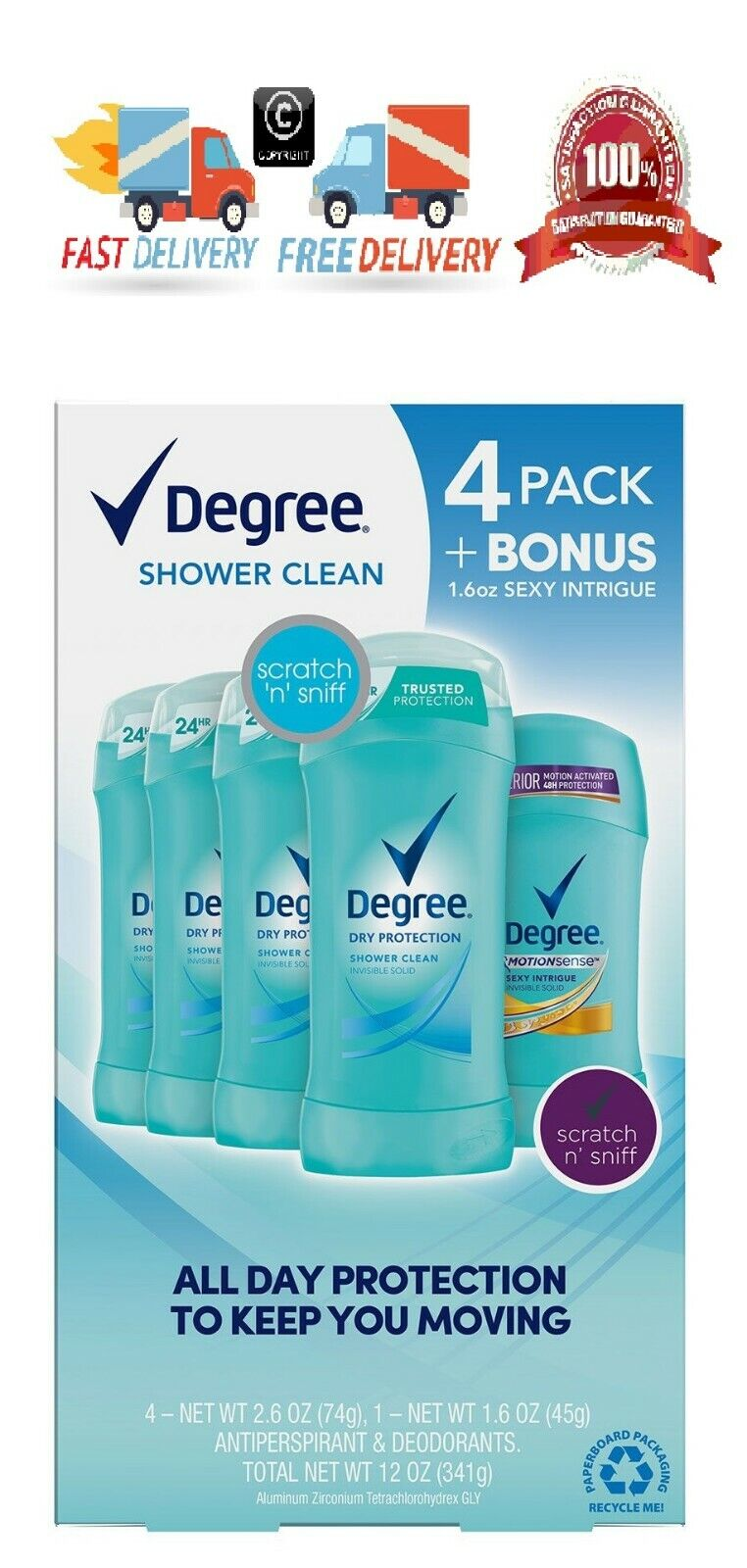 Degree Dry Protection Deodorant, Shower Clean 2.6 oz,4 pk.+1