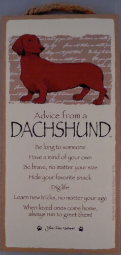 Advice from a DACHSHUND (red) 10 X 5 hanging Wood Sign MADE IN THE USA!
