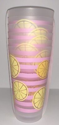 Pink Lemonade Plastic Glasses Set Of 6 Pink Yellow Clear Ice Tea Cups Outdoor (Clear Pink Plastic Cups)