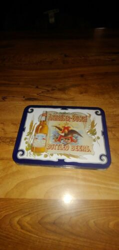 1988 Anheuser Busch Bottled Beers Playing Cards in Storage Tin