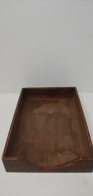 Vtg Old Weis Wood Letter Paper Tray Box Wooden Monroe Michigan Usa Office Desk