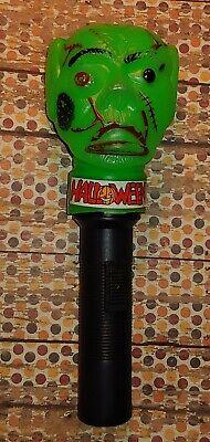Vintage Halloween Green Monster Head Plastic Blow Mold Flashlight Works