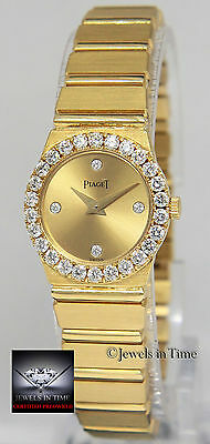 Piaget Polo 18k Yellow Gold Diamond 21mm Ladies Quartz Watch 8296 C 701
