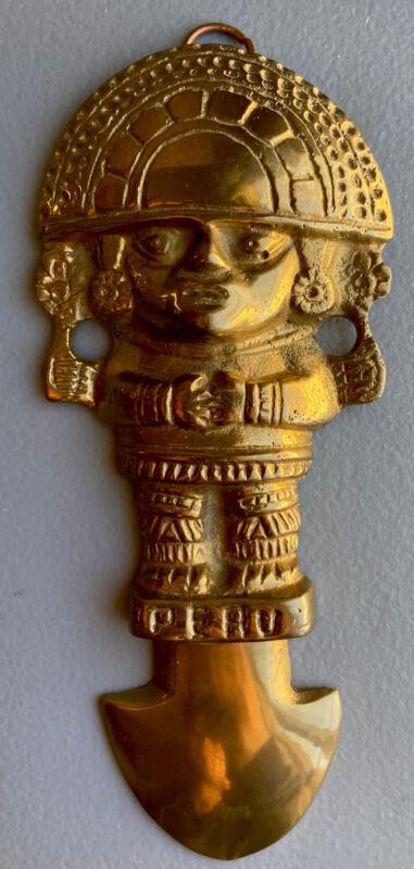 "Vintage Peru Gold Plated Aztec Mayan Large 7"" Wall Decor World's Fair Souvenir"