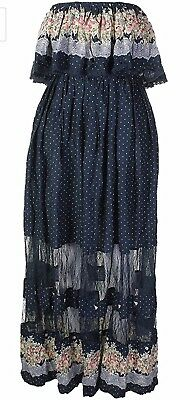 FREEWAY APPAREL PRINTED LACE INSET MAXI DRESS,NWT,MSRP-$98,NAVY for sale  Shipping to Canada