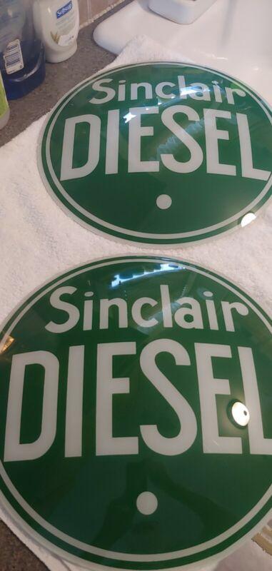 PAIR OF VINTAGE NOS SINCLAIR DIESEL GAS PUMP GLOBE ORIGINAL INSERTS