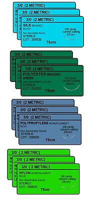 30 Surgical Sutures Silk Nylon Polyester Polypropylene Braided 12pack Sterile