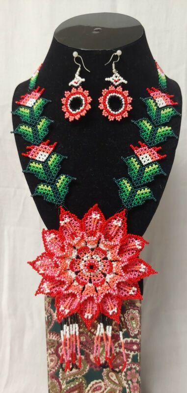 Huichol bead 2 pcs necklace set, Mexican women
