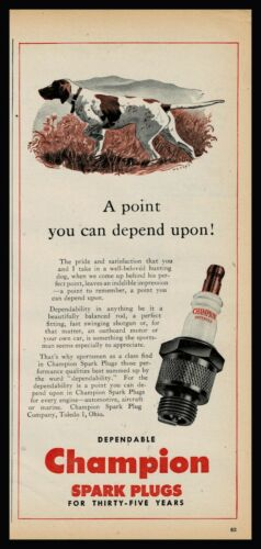 1946 POINTER Dog on Point Champion Spark Plugs Vintage Print AD Old Advertising