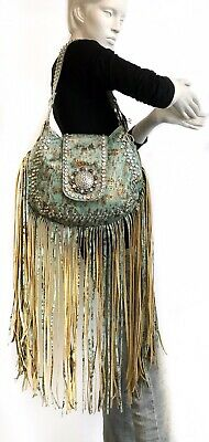 Raviani Western Long Fringe Bag W/TQ & Copper Accented Leather W/Crystal Concho