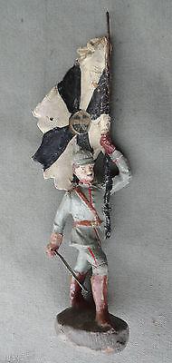 original  Elastolin Figur Offizier mit Degen 10  cm feldgrau 14 18 Fahnenträger