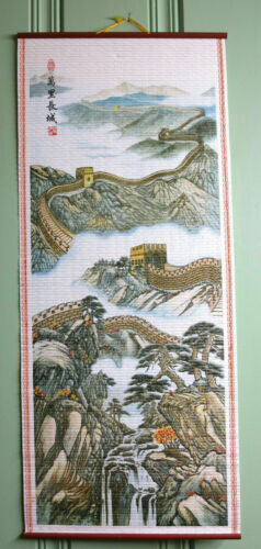 "Home decor Chinese scroll Great Wall of China painting ""万里长城"" decoration"