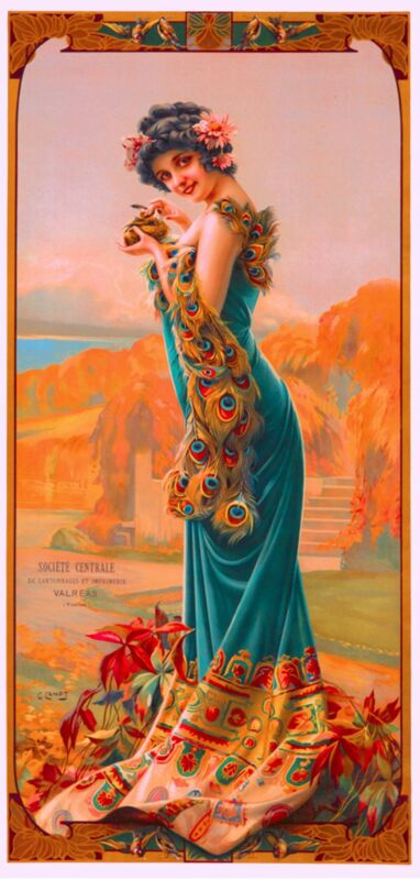 1894 Peacock Series II Woman Green Vintage French Nouveau Poster Advertisement