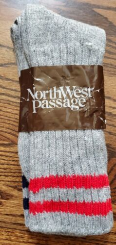 Vintage New Dead Stock NorthWest Passage Thick Wool Socks 2 Pair Grey Size 10-13