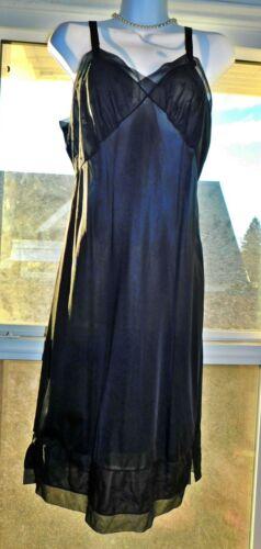 Vintage Adonna Sheer Black Slip~38~Petal Soft and Silky Nylon~Chiffon!!!!!!!!!!!