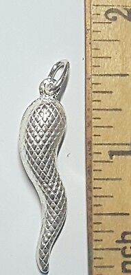 Long Italian - 925 Sterling Silver Italian Horn Pendant Nice Design 1 1/2 inches Long Italy