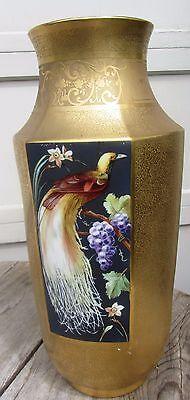 MASSIVE PICKARD? GOLD ART NOUVEAU VASE FRANCE PORCELAIN BIRDS OF PARADISE NICE!!