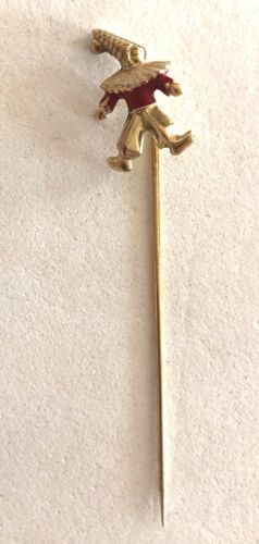 SOLID 14K YELLOW GOLD & ENAMELED CLOWN STICK PIN- SEE OTHER JEWELRY