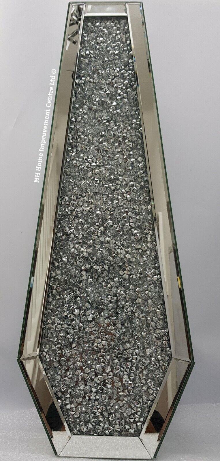 Silver Decorative Floor Vase Mirrored Sparkly Diamond Crush