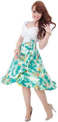 Aida Zak FLARED PALM Tiki Aloha Tropical Sarong Swing Skirt ROCK Rockabilly