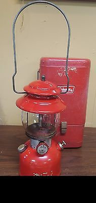 Vintage Red Coleman Lantern 200A with Metal Case