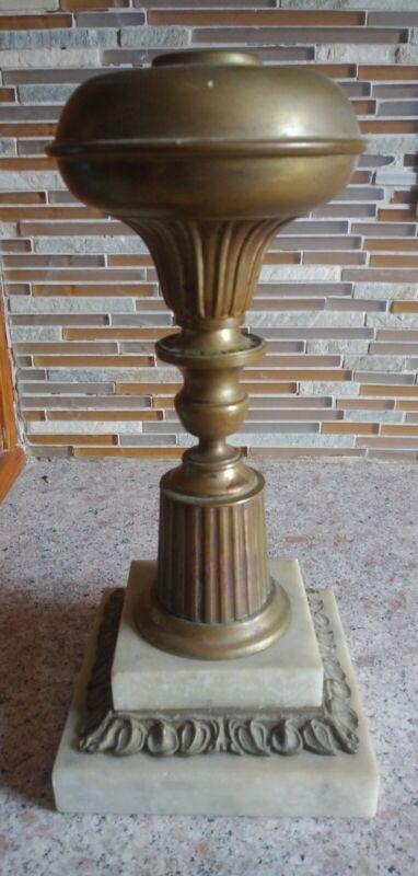 Vintage 19th C. Brass Solar Astral Oil Kerosene Fluid Lamp LOOK! Never Drilled