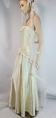 Jessica McClintock Bridal Ivory Liquid Satin Dress 10 Halloween Costume Glam