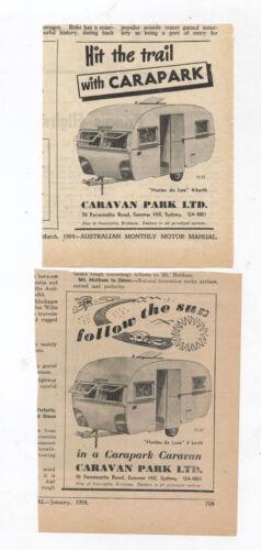 Carapark Caravan Original Advertisement removed from a 1954 Magazine