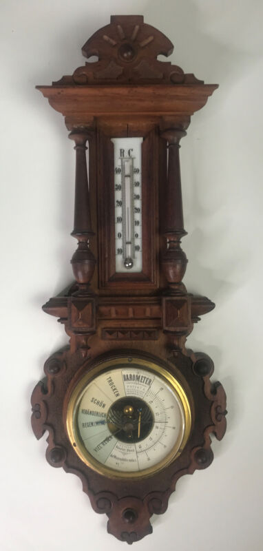 """Antique German Wall Barometer & Thermometer Black Forest, 20"""""""