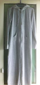 Damen Maxi Kapuzen Kleid von BODYZONE by Kappahl Samt Grau Langarm in Gr. 32/34