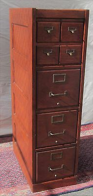 Antique American Oak Furniture - ANTIQUE ARTS & CRAFT OAK RAISED PANEL FILE CABINET WITH 4 OVER 3 DRAWER FORMAT