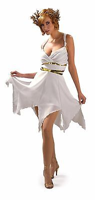 Grecian Goddess Greek Roman Toga White Gold Women's Fancy Dress Costume
