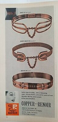 1957 Renoir California copper gaucho basket-weave sprite fashion belt vintage ad