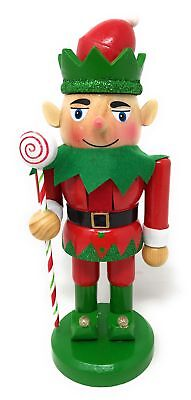 Wooden Standing Christmas Elf Nutcracker with Candy Stick