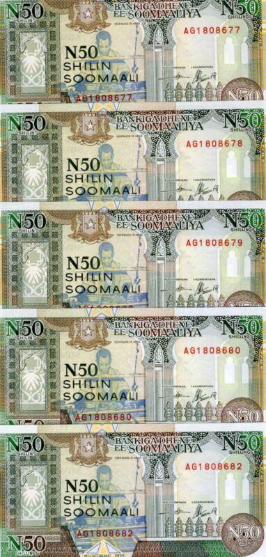 LOT Somalia, 5 x 50 shillings, 1991, Pick R2, UNC