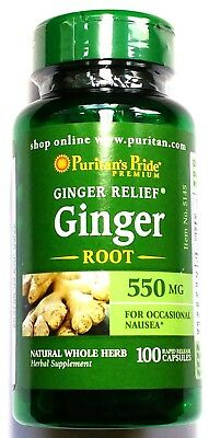 550mg Ginger Root Herb 100 Capsules Motion Sickness Nausea Digestive Health Pill