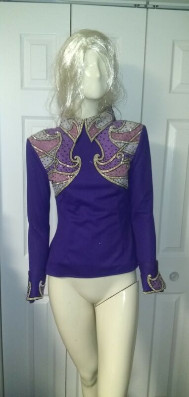 LADIES BERRY FIT PURPLE Western Show Coat RODEO SIZE S