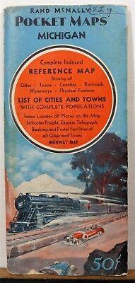 1946 Michigan vintage Rand McNally travel info booklet beautifully printed map b