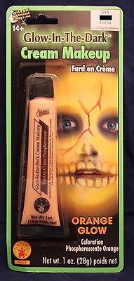 Zombie Halloween Makeup Men (ORANGE GLOW-IN-THE-DARK CREAM MAKEUP Zombie Monster Halloween Costume Men Women)