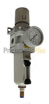 Pneumaticplus Air Filter Regulator Piggyback 12 Npt Auto Drain Metal Bowl