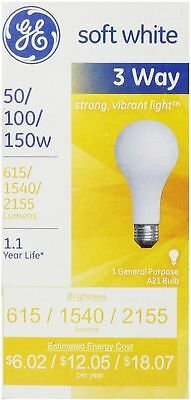 - GE SoftWhite Light Bulb 3-Way 50/100/150 Watt 1 ea (Pack of 6)