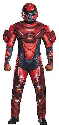 Rot Spartaner Muskel Erwachsene Herren Overall Kostüm Helm Halloween Disguise