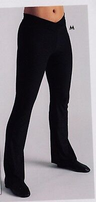 NWT black v front jazz pants cotton spandex very soft great yoga Small child 4C Front Jazz Pant