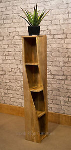 Solid Natural Mango Wood Twisted Bookcase Storage Unit 20cm Square - Mantis Baku