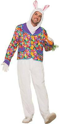 Easter Bunny Rabbit Costume Hood & Pants With Jelly Bean Print Jacket Adult Std