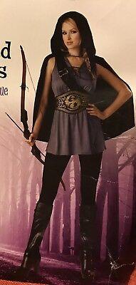 Huntress Warrior Medieval Isabel Archer Robin Hood Women Costume Grey/Black (L)